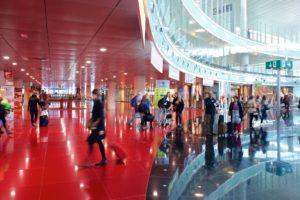 Zona comercial de la T1 del aeropuerto Barcelona El Prat.