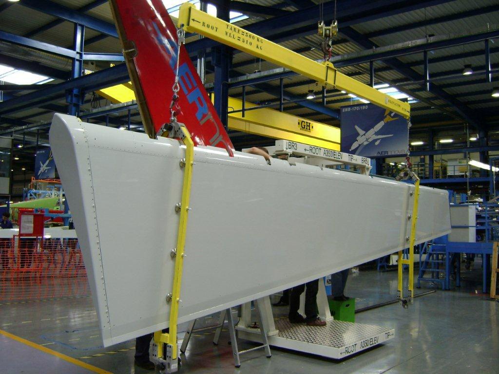 Timón de profunidad del A350 fabricado por Aernnova