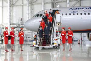 Ceremonia de entrega del primer A310neo de Aeroflot en Moscú.
