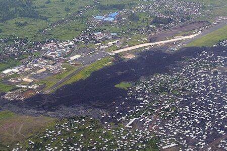Bajo la zona oscura estaba parte del aeropuerto de Goma.