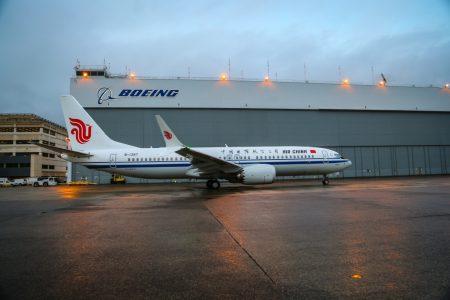 El primero de los ocho Boeing 37 MAX 8 de Air China en el centro de entrega de Boeing en Boeing Field.