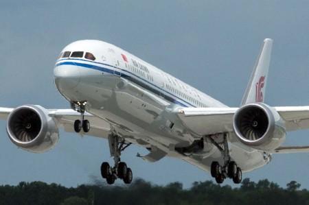 Aterrizaje del primer Boeing 787-9 de Air China en Everett durante el vuelo de aceptación.