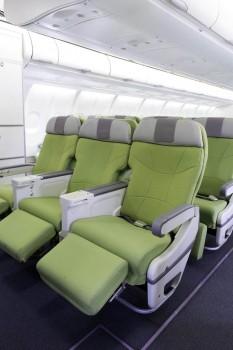 Air Europa ha mantenido los asientos que usaba Skymark en este Airbus A330 para dedicarlo a vuelos privados para equipos y grupos.