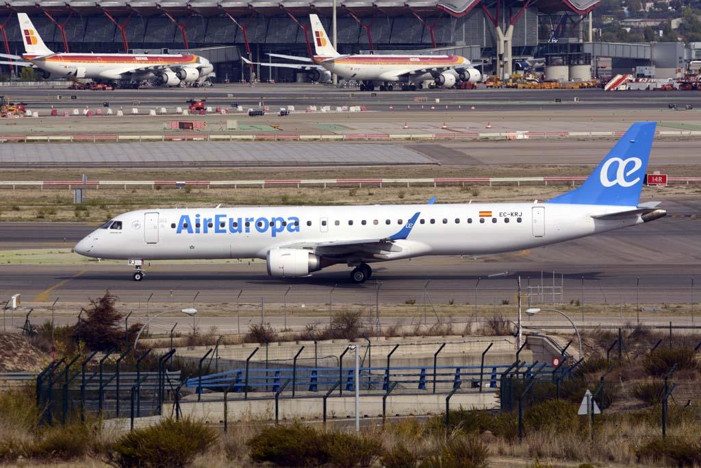 Nueve de los once Emrbaer E195 de Air Europa pasarán a la flota de Air Europa Express, el nuevo nombre de Aeronova.
