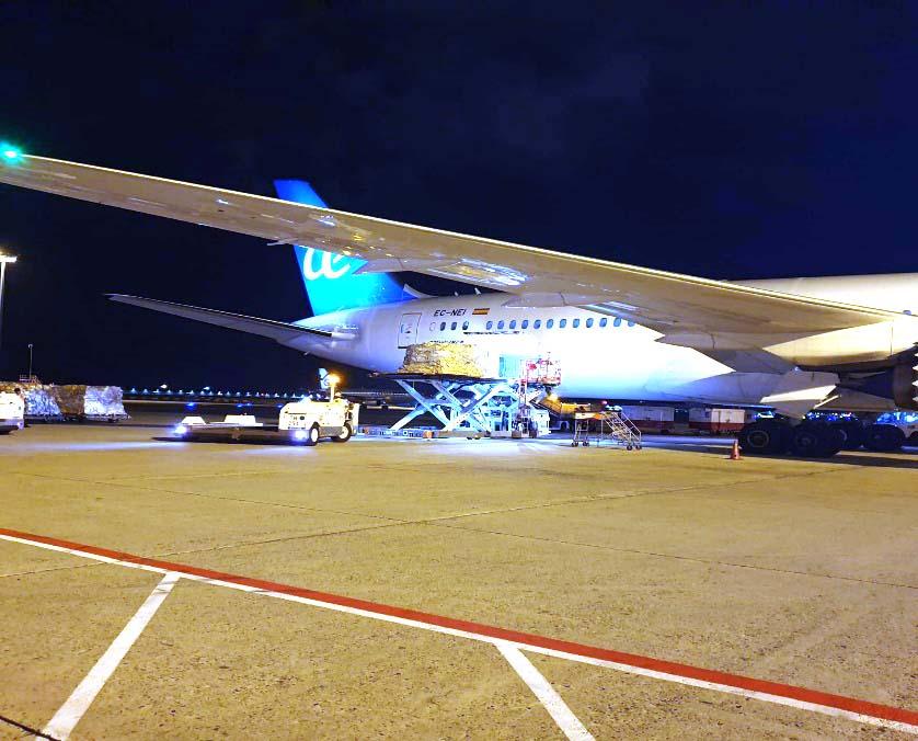 Carga en Singapur de material sanitario en el Boeing 787 de Air Europa.