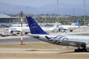 Aviones de Air Europa en la T4 del aeropuerto dee Madrid Barajas.
