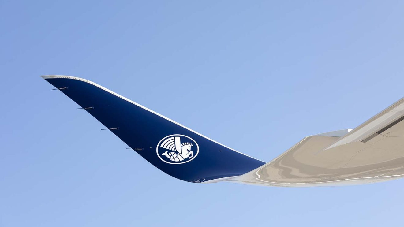 Air France ha decorado la parte interior de los winglets con su emblema del caballito de mar alado.