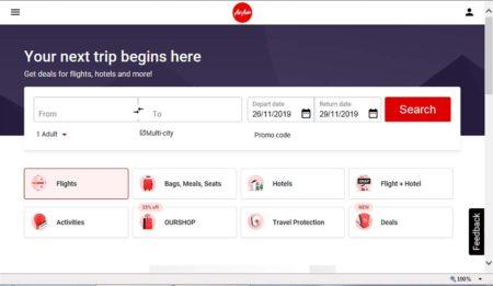 Captura de pantalla de la web de Air Asia en la que ya se pueden reservar vuelos con más dde un centenar de aerolíneas de todo el mundo, así como hoteles y otros servicios.