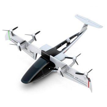 En el MOBi-ONE el ala al completo pivota para el despegue y aterrizaje en vertical. Va equipado con siete hélices/rotores: seis en el ala y uno en el fuselaje trasero para ayudar con la sustentación.
