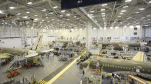 Cadena de montaje del Airbus A220 en Quebec.