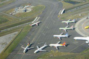 Aviones A320neo en Toulouse a la espera de sus ,motores. En los últimos meses el número de estos aviones estacionados ha descendido al haberse incrementado las entregas de motores.