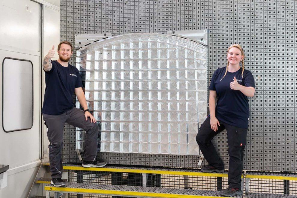 La mampara trasera del primer depósto adicional de combustible para el Airbus A321XLR.