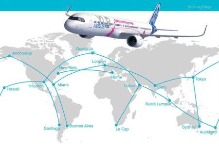 Infografía de Airbus en la que se muestran algunos pares de ciudades que el A321XLR podrá unir sin escalas.q