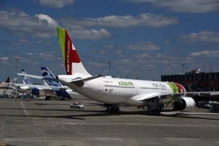 El A330 en las instalaciones de Airbus en Toulouse poco antes de embarcar hacia Lisboa.