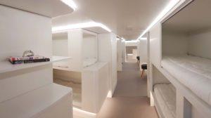 Maqueta del módulo de camas para los pasajeros presentada por Zodiac y Airbus.