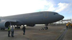 El primero de los A330 MRTT del Ejército del Aire español en Chateauroux poco antes de volar a Madrid.