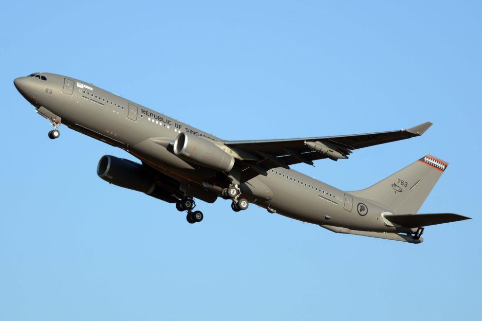 Airbus A330MRTT de la Fuerza Aérea de Singapur despegando de Getafe en uno de sus últimos vuelos previos a su entrega.