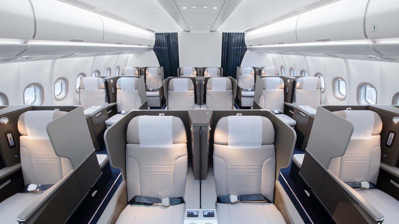 Hi Fly ha elegido una configuración de 2-2-2 asientos para su clase business en el nuevo Airbus A330neo, en lína con las usadas por muchos de sus clientes regulares.