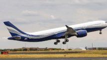 El nuevo Airbus A330-900 de Hi Fly durante uno de sus vuelos de prueba en Touluse.