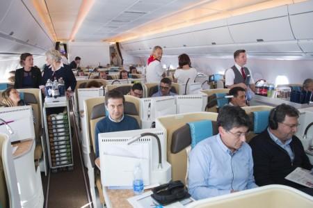 Los ocupantes del vuelo de prueba con pasaje del A350-1000 fueron elegidos entre las diferentes factorías de Airbus.