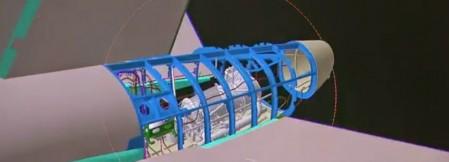 Imagen CATIA de la sección 19.1 del fuselaje del A350. En azul la estructura que forma el esqueleto de la misma y para la que Alestis do Brasil fabrica piezas.