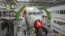 Cadena de montaje del Airbus A350 en >Toulouse.
