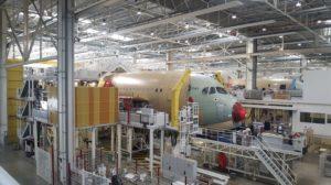 Cadena de montaje del Airbus A350 en Toulouse.