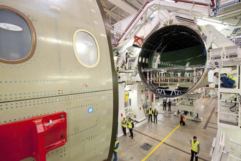 Cadena de montaje del Airbus A350.
