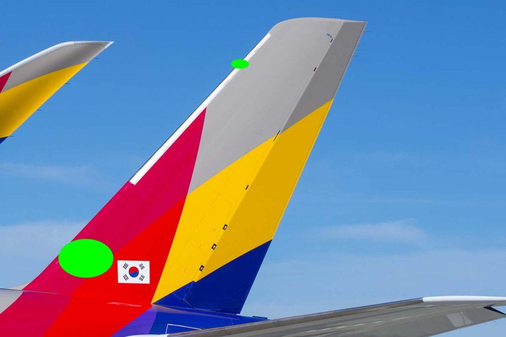 Detalle de la cola de un Airbus A350. Marcado en verde la ubicacion de las piezs d Aciturri en impresión 3D.