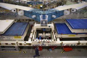 Montaje de los estabilizadores horizontales del A380 en Cadiz