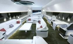 Ejemplo de una sección de la cabina de pasaje del Airbus ACJ350.