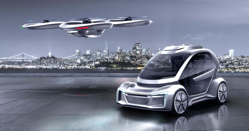 Impresión artística de cual podría ser el aspecto del dron coche volador diseñado por Airbus, Audi e Italdesign.