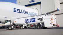 Repostaje del Beluga en Broughton con biocombustible.q