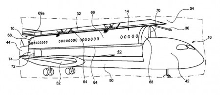 Uno de los dibujos que acompaña a la patente de Airbus de cabinas intercambiables.