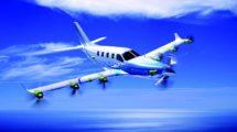 Aspecto que podría tener el avión TBM una vez modificado con el sistema de distribución de energía a varios motores eléctricos en las alas.