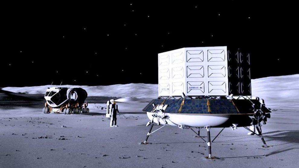 Airbus apuesta por una plataforma básica en la que se puedan situar distintos tipos de cargas, aquí por ejemplo un contenedor con suministros para un grupo de astronáutas.