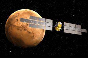 Representación de la misión ERO en órbita marciana.