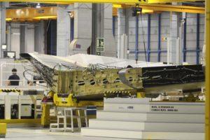 Producción en Getafe de estabilizadores horizontales para los aviones de Airbus, en este caso del A330.