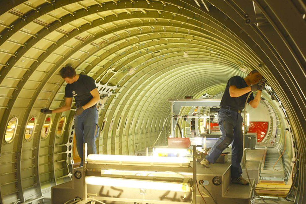 Trabajadores de Airbus en Hamburgo.