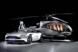 El primer Airbus Helicopters ACH130 con interiores de Aston Martin junto a un DB11.