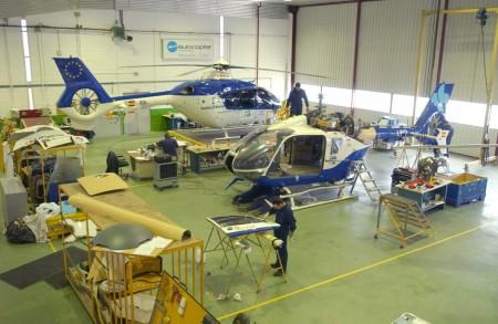 Hangar de mantenimiento de helicópteros de Airbus Helicopters en Albacete.