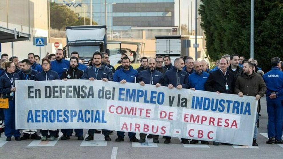 Trabajadores de Airbus en el CBC durante una de las manifestaciones llevadas a cabo contra el cierre de Puerto Real.