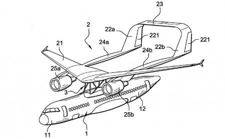 Ejemplo de solicitud de patente de Airbus de un avión de pasaje con ala en parasol.