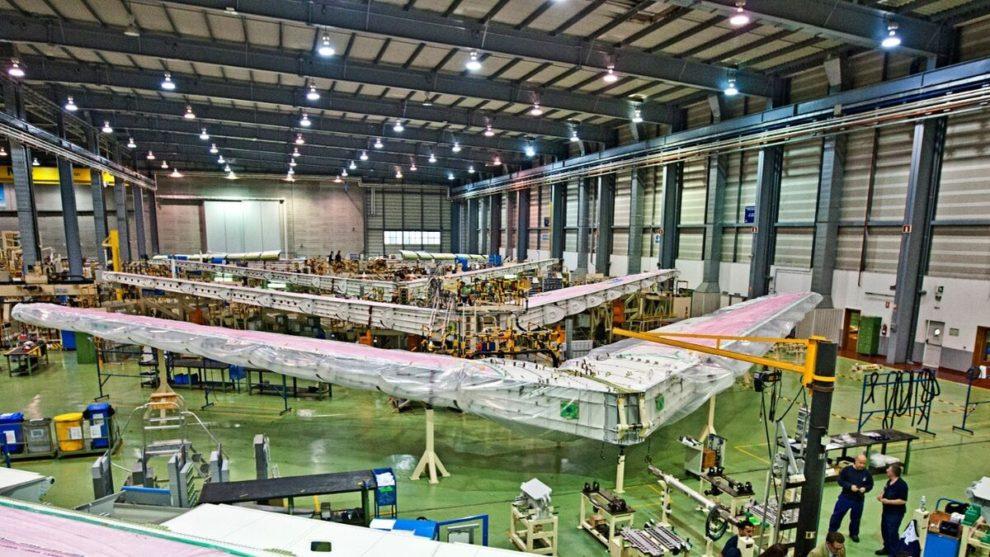 Producción de estabilizadores horizontales del Airbus A380 en la factoría de Puerto Real.