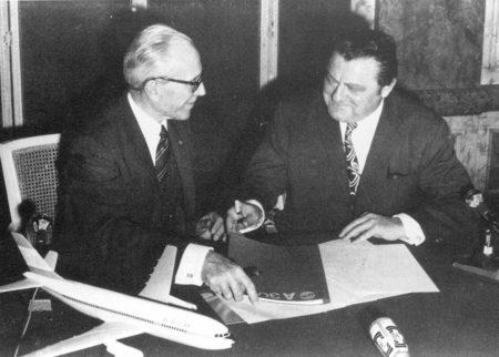 Firma de la constitución de Airbus en 1969.