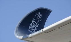 El winglet del Airbus A350 curvado y elegante.