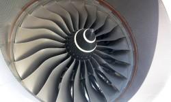 Fan de entrada del motor Rolls-Royce Trent XWB del Airbus A350 XWB.