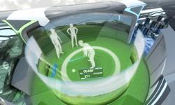 la zona central de la cabina podría albergar una zona de juegos tridimensionales como este simulador de golf.