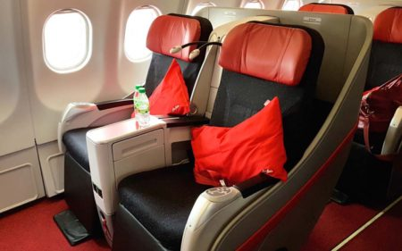 Los Airbus A330 de AirAsia X incluyen asientos premium.