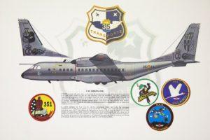 Lámina del Ala 35 que muestra como quedará decorado el C-295 del 100 aniversario de la base aérea de Getafe.